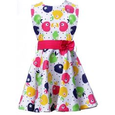 Imported Cotton Girls Pretty Apple Frock (White) #summerdresses #dressesforgirls #babyfrocks