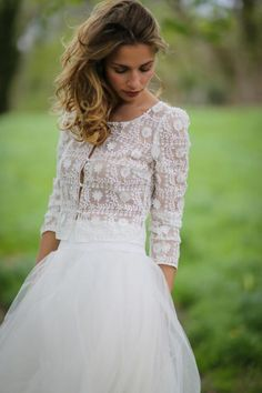 Wedding dress a dress in two parts in lace Marie Laporte, price . Most Beautiful Wedding Dresses, Two Piece Wedding Dress, Boho Wedding Dress, Wedding Dress Styles, Bridal Outfits, Bridal Dresses, Flower Girl Dresses, Marie Laporte, Wedding Dresses 2018