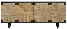 """Dimensions: 76.5"""" X 22.5"""" X 32"""" H  Material: Mahogany Finish: Pale Seagrass wrapped doors Please allow 3-4 weeks"""