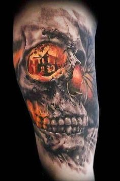 Skull Tattoos 28 - 80 Frightening and Meaningful Skull Tattoos  <3 <3