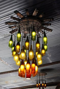 ideas on how to recycle wine bottles, outdoor living, repurposing upcycling, Bottle Lamp