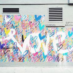 Love Wall near Cafe Gitane – NoLita, NYC - nimivo sites Graffiti Wall Art, Murals Street Art, Mural Wall Art, New York Graffiti, School Murals, Love Wall, City Art, Painting, Instagram Wall