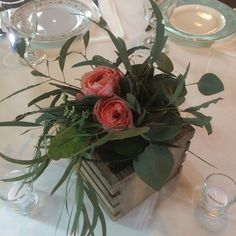 Hob Knob Hanging Jar Pew Maker are beautiful for the ceremony. The jars  in our custom made crates for the tables. Double Duty flowers!