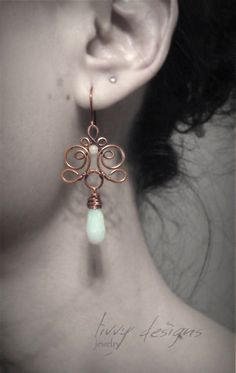 Wire Wrapped Copper Earring