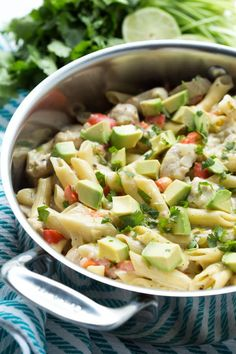 One Pot Creamy Salsa Verde and Lime Chicken Pasta is a fun twist on a comforting and easy meal. @rothcheese #rothcheese
