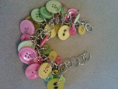 pink green and yellow charm button bracelet by crazydesigns2012, $15.00