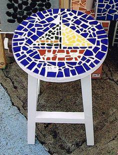 Mosaic sailboat stool by Ziggy