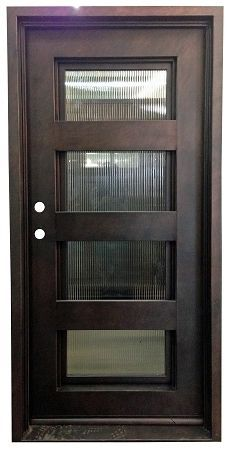 4 Lite Exterior Wrought Iron Door with Reed Glass Double Screen Doors, Glass Screen Door, Glass Garage Door, Garage Door Design, Main Door Design, Glass Front Door, Garage Doors, Gate Design, Glass Doors