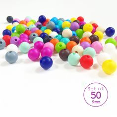 Bulk Set of 50, 9mm Round Loose Silicone Teething Beads