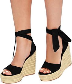8856bae3d9f6 Pxmoda Womens Peep Toe Lace Up Espadrille Wedge Sandals Summer Strappy  Gladiator Platform Sandals