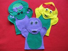 Barney, Baby Bop and BJ Felt hand puppets