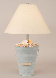 Bucket of Shells Table Lamp in Cottage Seamist Beach Decor | Nautical Decor | Tropical Decor | Coastal Decor