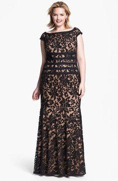 Tadashi Shoji Textured Lace Mermaid Gown (Plus Size) | Nordstrom