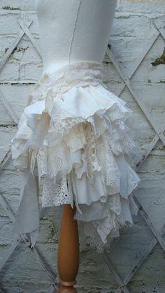 Upcycled Bustle Ivory Cream White Mori Girl by BabaYagaFashion