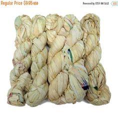 SALE New! Premium Sari Silk  Ribbon yarn , 100g (50 yards) color Morning Light