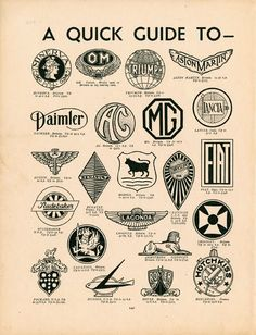 """""""A Quick Guide To Motor-Car Badges"""" from an English publication """"Modern Boys Book of Hobbies"""" circa 1937"""