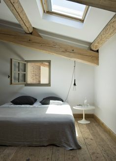 Marie-Laure Helmkampf interior design... floorboards, room shape, white walls, slanted roof w skylight, window into study (needs bank of louvres down rhs).