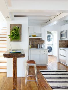 When you can't physically expand a room, try a few tricks to make rooms appear larger. Paint walls and ceilings the same light hue. Install wide planks or big tiles diagonally on floors. Heighten short walls with vertical boards or stripes./