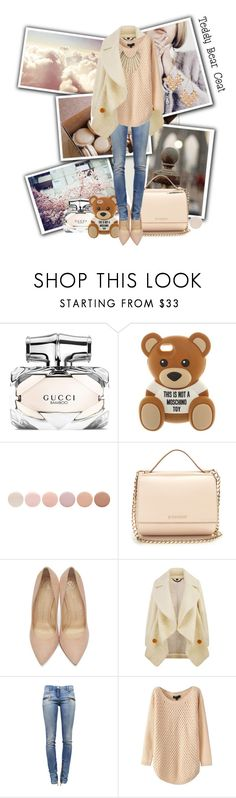 """""""Teddy Bear Coat"""" by ellaa-h ❤ liked on Polyvore featuring Gucci, Moschino, Deborah Lippmann, Givenchy, Charlotte Olympia, Burberry, Balmain, Jennifer Lopez and Forever 21"""