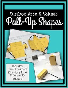 Help students understand how a net can transform into a shape with these pull-ups! Pack includes templates and directions for 4 different figures! Math Projects, School Projects, School Ideas, Kids Education, Health Education, Physical Education, Project Based Learning, School Lessons, Fun Math