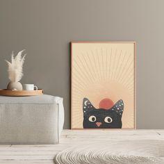 Abstract Sun Printable, Cat Portrait Print #midcentury #midcenturymodern #printable #printables #wallart #prints #art #midcenturyposter #downloadable #diyart #minimalist #abstract #abstractart #minimalistart #cat #blackcat Cat Posters, Diy Art, Midcentury Modern, Mid Century, Wall Decor, Portrait, Cats, Minimalist, Room Wall Decor