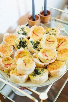 Mini quiches: http://www.stylemepretty.com/living/2016/03/03/modern-baby-shower-you-are-loved-calligraphy-backdrop/ | Photography: Callie Hobbs - http://www.calliehobbsphotography.com/blog/