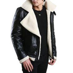 FLATSEVEN Mens Genuine Leather Jacket Winter Coats Sheepskin Rider (LJ104) M FLATSEVEN #Christmas #mens fashion #menswear #Winter jackets #mens jackets #denim