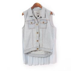 Retro  woman behind Sen hundred stitch pleat chiffon sleeveless double Pocket washed denim vest waistcoat jacket