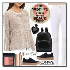 """""""ROMWE - Grey Round Neck Long Sleeve Loose T-Shirt"""" by jelena-880 ❤ liked on Polyvore featuring NARS Cosmetics, Charlotte Tilbury and Lipsy"""