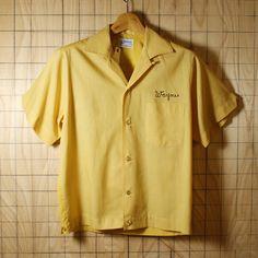 Hilton/60sUSA製ビンテージ古着 イエローストライプ フロッキープリント ボーリングシャツ・半袖シャツ/メンズSサイズ