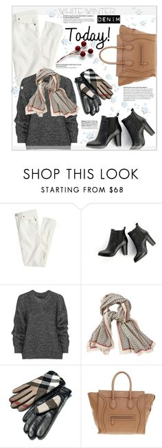 """Winter White Denim"" by suzanne228 ❤ liked on Polyvore featuring J.Crew, SWEET MANGO, Belstaff, Aigle, Burberry, CÉLINE and winterwhite"