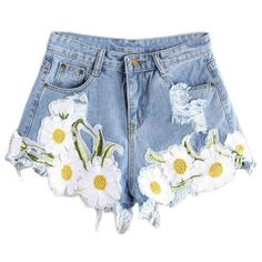 Saundra Floral Light Blue Ripped Denim Shorts ($61) ❤ liked on Polyvore featuring shorts, distressed denim shorts, light blue jean shorts, torn shorts, ripped shorts and denim shorts
