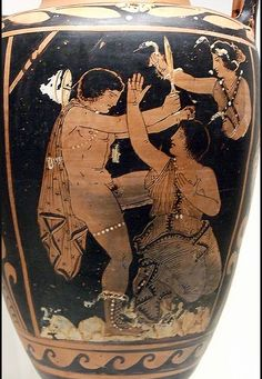 Storage Jar with a Scene from the Oresteia Greek, made in Paestum, South Italy, 350-320 BC Terracotta Red-figured amphora attributed to a painter close to Asteas Inventory # 80.AE.155 As described by Aeschylus in his Oresteia trilogy, Clytemnestra bares her breast in supplication to her son Orestes, who intends to kill her. In the upper right a Fury, a female spirit of vengeance, advances toward Orestes, wielding snakes to torment him for his crime of matricide.