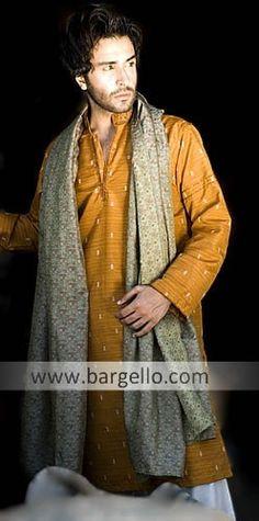 Orange wedding Pakistani outfit for men