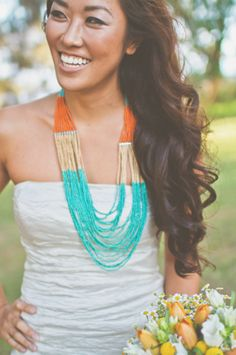 an orange and turquoise wedding inspiration shoot set in Hawaii with a gorgeous bride in a statement necklace. Wedding Looks, Wedding Pics, Wedding Ideas, Wedding Themes, Party Wedding, Wedding Hair, Bridal Hair, Diy Wedding, Wedding Decor