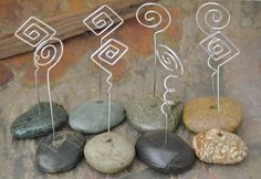 Reserved for GypsyHooligan - Beach Rock and Wire Place Card Holders - Set of Ten