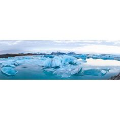 Icebergs floating in glacial lake Jokulsarlon South Iceland Iceland Canvas Art - Panoramic Images (18 x 6)