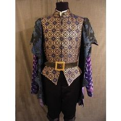 Costumes/Medieval/Men's Wear/Medieval Doublets/09022825 Doublet blue gold, purple hanging sleeves C40