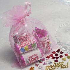 5 Mini Love Heart Rolls in an Organza Bag