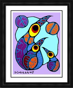 "Norval Morrisseau Limited Edition Print """"Family of Birds"""" - Framed Canvas New Project Ideas, Family Foundations, Famous Art, Limited Edition Prints, Canvas Frame, Art History, Nativity, Illustration Art, Birds"