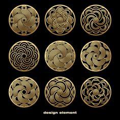 Template for creating logo, icon, symbol, emblem, monogram frame. Illustration gold pattern on black background. Pattern Art, Pattern Design, Gold Pattern, Vector Pattern, Monogram Frame, Design Graphique, Vector Design, Asian Art, Japanese Art