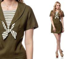 60s Mod Dress Sailor Collar Ascot Mini Neck Tie Drop by ShopExile, $67.00