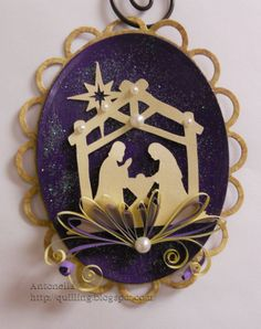 """Love this Nativity Ornament, simple shapes cut and a touch of quilling and lovely pearls accent this elegant design.   Part of my featured """"Walkabout - My Ornament Collection"""" - pinned from Antonella - http://quilling.blogspot.com"""