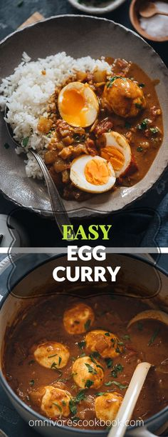 Easy Egg Curry - Tender eggs are smothered in a super rich curry sauce with a tomato and coconut base. The recipe shows you how to cook a tasty curry using minimal ingredients, making it a perfect dish for a busy weekday dinner. Curry Recipes, Vegetarian Recipes, Cooking Recipes, Healthy Recipes, Easy Cooking, Delicious Recipes, Indian Food Recipes, Asian Recipes, Indian Foods