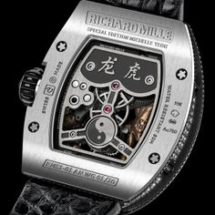 RICHARD MILLE TOURBILLON RM 51-01 TIGER AND DRAGON MICHELLE YEOH Limited edition of 20 pieces in 18K white gold or red gold (See more at En/Fr: http://watchmobile7.com/articles/richard-mille-tourbillon-rm-51-01-tiger-and-dragon-michelle-yeoh)  #watches #montres #richardmille