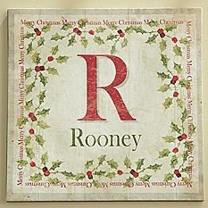Family Initial and Name Holly Canvas
