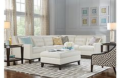 Reina White Leather 4 Pc Sectional
