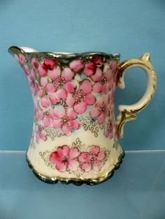 ANTIQUE ROYAL KINRAN NIPPON BEADED FLORAL ROSE BUD MILK CREAM PITCHER NR
