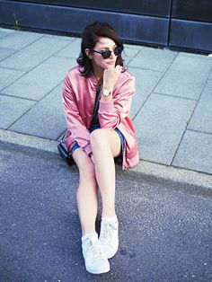 adpt pink bomber jacket denim mini skirt street style streetstyle berlin summer satin blouson adidas superstars short hair long bob lob half updo