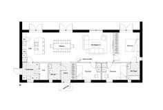 intressantahus-m1_120-planritning Shed House Plans, Cottage Floor Plans, Small House Plans, House Floor Plans, Small House Images, Barn Layout, Swedish Cottage, Sims Building, Container House Plans